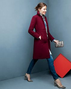 J.Crew double-cloth Lady day coat with Thinsulate®, toothpick jean in lewiston wash and the metallic paisley jacquard Minaudiére clutch. Colorful coat with eye-catching heels.