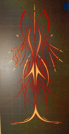 Rob Valentini Valentini Pinstriping fire red and ivory on grey panel