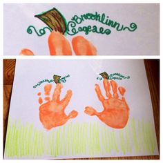 fall pumpkin handprint craft for kids - write their names and ages in the vines…