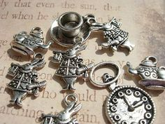 8 Mixed  Alice in  Wonderland Charm Drops  White by magicbeadbox, $3.07