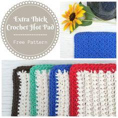 Free crochet hot pad pattern from Cute As A Button Crochet & Craft. #crochet #potholder #pattern