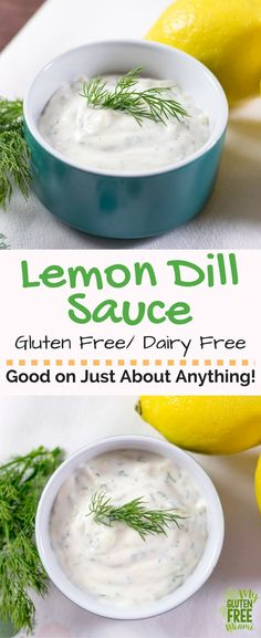 Both gluten free and dairy free, this lemon dill sauce is a flavor combo that will add a wow factor to any dish. Perfect as a dipping sauce for fried fish or on top of salmon! Only takes 5 minutes to make with 5 ingredients. No cooking required! via @GLUT