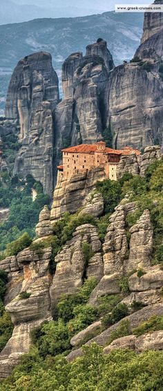 The Monastery of Rousanou looks out onto the enormous sandstone pillars of the Meteora area of #Greece #travel #wanderlust