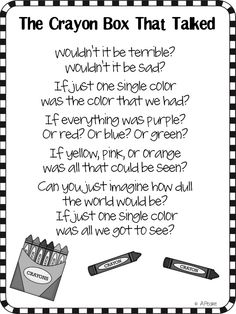 The Bubbly Blonde: The Crayon Box That Talked Freebie Writing Papers! The book I base my classroom theme on! I love crayolas omg! Poetry For Kids, Kids Poems, Fun Poems, Pomes, Crayon Box, Crayon Canvas, Beginning Of Year, Character Education, Art Education