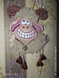 Картина панно рисунок Новый год Лепка Баранчик и повторюшки Тесто соленое фото 1