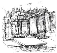 Sketch of the Forecourt Fountain Easy Art Projects, Drawing Projects, Landscape Architecture, Landscape Design, Lawrence Halprin, Manga Eyes, Drawing Websites, Sketchbook Inspiration, Simple Art