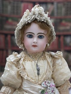 """26"""" (67 cm) Antique Beautiful French Bisque Bebe Jumeau with Rare """"D"""" from respectfulbear on Ruby Lane"""
