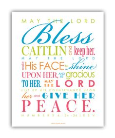 Baptism Gift / First Communion Gift - Print & Frame Your Own Personalized Scripture 8x10 - Pick Colors - Numbers 6 Priestly Blessing - DIY