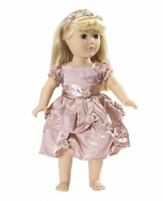 """Holiday Dress Fits American Girl Dolls - 18 Inch Doll Clothes/clothing with 18"""" Accessories by Wish Doll Company. $17.99. Luxurious high quality fabrics, machine washable, safety tested. Includes a matching rose headband. Made to fit 18 Inch dolls such as American Girl, Madame Alexander, My Generation, etc.. The puffy cap sleeves and satin waistband give this outfit true class. A gorgeous rich dusty rose satin dress with rosette embellishments. This is a beauty of an out..."""