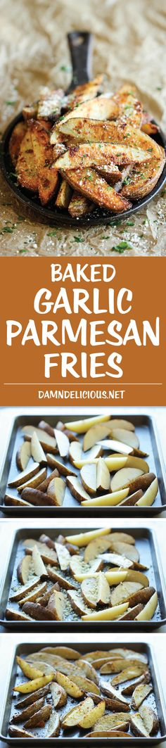 Garlic Parmesan Fries - Amazingly crisp, oven-baked fries coated with ...