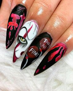 Halloween Press On Nails, Cute Halloween Nails, Halloween Acrylic Nails, Halloween Nail Designs, Creepy Halloween, Halloween Ideas, Pink Halloween, Cute Acrylic Nail Designs, Cute Acrylic Nails