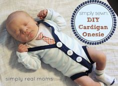 DIY Cardiagn Onesie Simply Sewn: DIY Cardigan Onesie Motz how adorable is this! Diy Bebe, Real Moms, Everything Baby, Guy, Baby Crafts, Baby Sewing, Future Baby, Baby Boy Outfits, Baby Love