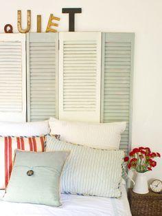 DIY shutter headboard. & 52 best DIY Bed Headboards images on Pinterest | Bed headboards ...