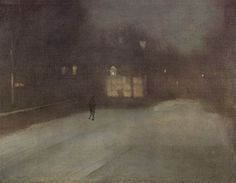 James Abbott McNeill Whistler - Nocturne in Grey and Gold. Snow in Chelsea, James Abbott Mcneill Whistler, Nocturne, Chelsea James, Harvard Art Museum, Time Painting, Art For Art Sake, Grey And Gold, American Artists, Light In The Dark