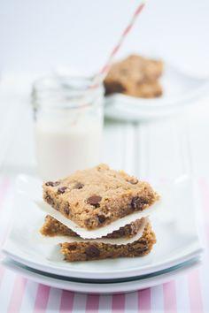 Chocolate Chip Peanut Butter Cookie Bars | Vegan Gluten Free | Allyson Kramer