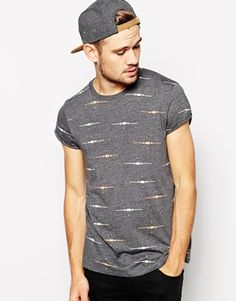ASOS T-Shirt With All Over Print And Rolled Sleeve