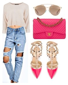 """""""Untitled #165"""" by lillylilit on Polyvore featuring Boohoo, Valentino, Chanel, Christian Dior, women's clothing, women, female, woman, misses and juniors"""