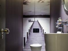 stickers wc trompe l oeil idee deco toilettes papier peint original