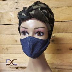 Printed Turban Headwrap + Denim Mask