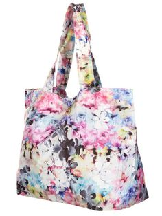 Stay on #trend with this #neon #floral tote for one heck of a good deal. #bargain #Topshop