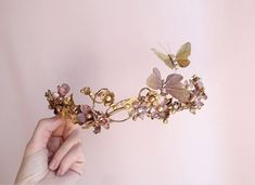 bridal hair piece, gold bridal headpiece, butterfly hair accessories, bronze wedding hairpiece, Swarovski crystal hair clip, hair vine