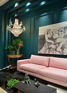 Needing, Wanting, Loving: A Pink Sofa (The Peak of Tres Chic) Brauchen, wollen, lieben: Ein rosa Sofa Canapé Design, House Design, Design Ideas, Design Trends, Sofa Design, Asian Design, Design Room, Design Furniture, Luxury Furniture