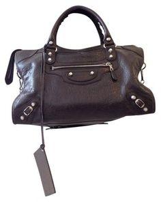 56a62e11305 Balenciaga Giant 12 Silver City Dark Brown Leather Shoulder Bag 28% off  retail
