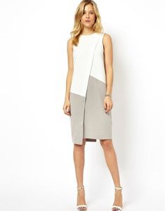 Buy ASOS Shift Dress With Asymmetric Colourblock at ASOS. Get the latest trends with ASOS now. Elegant Maxi Dress, Simple Dresses, Casual Dresses, Short Dresses, Dresses For Work, Style Victoria Beckham, Modest Fashion, Fashion Dresses, Woman Dresses