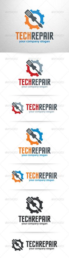 Tech Repair Logo Template — Vector EPS #home #cog • Available here → https://graphicriver.net/item/tech-repair-logo-template/7791330?ref=pxcr