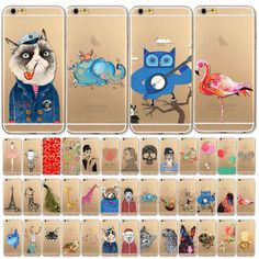 Colorful Drawing Clear TPU Silicon Soft Case Cover For iPhone 4 4S 5 5S 6 6Plus