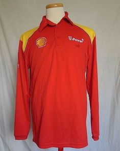 Ferrari Scuderia Shell Mens Polo Golf Shirt Medium Red V-Power Long Sleeve Polo Golf, Ferrari Scuderia, Long Sleeve Polo, Sport, Golf Shirts, F1, Online Price, Shells, Polo Ralph Lauren