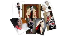 """Community: 10 Disney Diva Villain Costumes For Halloween. Cruella De Ville from """"101 Dalmations"""" What you'll need: 1. Black and white wig 2. Reg gloves 3. Yellow faux fur coat 4. Cigarrette holder 5. Dalmatian stuffed animal 6. Pearl necklace"""