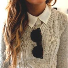 sweaters over collared shirts  like this look, not sure how it would look on me tho @Chevone Smola