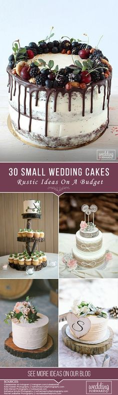 30 Small Rustic Wedding Cakes On A Budget ❤ See more: http://www.weddingforward.com/small-rustic-wedding-cakes/ #weddings #rustic