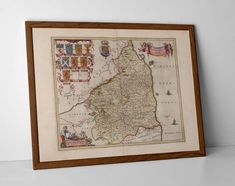Old Map Northumberland, originally created by Willem Janszoon Blaeu, now available as a 'museum quality' vintique wall decoration print.  #AlnwickOldMap #BamburghCastleMap #FarneIslandsMap #homedecor #travelposter #interiordesign #hahnemuhle #oldmap #NorthEastEngland #northumberland #NorthumberlandMap #northumberlandold #northumbriagifts #northumbriamap #durham #OldMapLindisfarne #OldMapNewcastle #OldMapNorthumbria