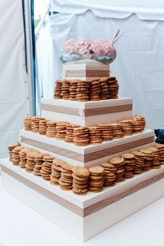 Cookies instead of cake because some of us are cookie people! each tier could be a different flavor. maybe a mini cookie cake on top for first anniversary tradition? or opt for the regular cake as top tier...and cookies all below. just brainstorming