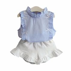 Toddler/Girl's Refreshing Light Blue Ruffle Trimmed Sleeveless Top & White Ruffle Short Set, 50% discount @ PatPat Mom Baby Shopping App
