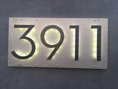 """LED 8"""" modern bronze backlit address numbers"""
