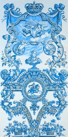 Faience painted with blue  c. 1690 - The PERFECT Baroque wallpaper! I think I might actually do fabric or a 3D wallpaper