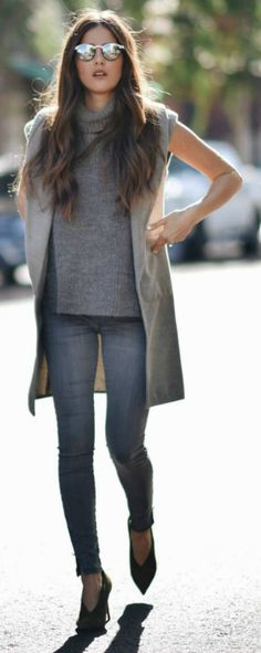 Paola Alberdi + sleek and sophisticated + elegant sleeveless jacket + skinny grey jeans + sleevless turtle neck sweater + Grey on grey + casual but glamorous vibes!  Jacket: WAYF, Jeans: Black Orchid, Pumps: Celine, Turtle neck: Isabel Marant.