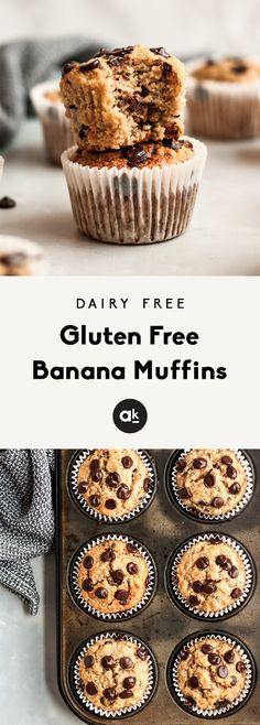 Fluffy, healthy dairy free and gluten free banana muffins with chocolate chips. Fluffy, healthy dairy free and gluten free banana muffins with chocolate chips. Dairy Free Muffins, Healthy Muffins, Healthy Snacks, Snacks Recipes, Diet Recipes, Appetizer Recipes, Banana Recipes, Healthy Nutrition, Recipes Dinner