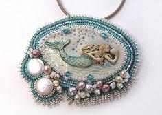 One Bead--Two Layer Natural Stone Mermaid Sea-Maid Pendant