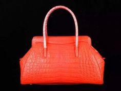 Womens Genuine Crocodile Belly Satchel Shoulder Frame Bag Orange - Rossieviren