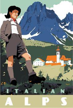 Italian Alps vintage poster