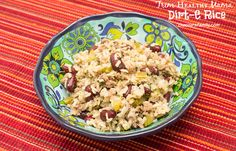 Trim Healthy Mama Dirt-E Rice is made with brown rice, lean ground turkey, red beans and veggies for a yummy Cajun flavored E (energizing) meal on the Trim Healthy Mama plan!