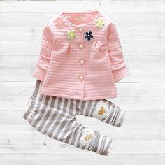 b1339a1a6a35 Baby Girl Clothes 2016 Spring Fashion Newborn Baby Girls Clothes Set 3-24M  Cotton Full