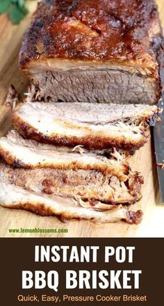 Instant Pot Brisket is the easiest, quickest and most delicious beef brisket recipe! This tender, melt in your mouth BBQ brisket is sure to become one of your favorite instant pot recipes ever! Instant Pot Beef Brisket Recipe, Beef Brisket Recipes, Bbq Brisket, Beef Brisket Crock Pot, Cooking Brisket, Pot Roast Brisket, Bbq Roast, Steak Recipes, Pressure Cooker Brisket