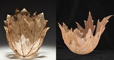 Artist Kay Sekimachi uses maple leaf skeletons to make gorgeous intricate bowls. Leaf Skeleton, Concept Photography, Leaf Bowls, Organic Art, Paperclay, Flower Crafts, Dried Flowers, Wood Carving, Decoration