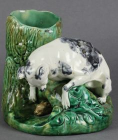 RARE ANTIQUE ENGLISH MAJOLICA GREYHOUND AND HARE SPILL VASE c.1870