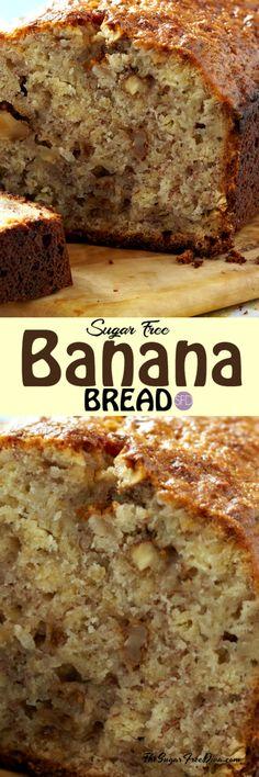 Cookies Sugar Free Banana Bread Ideas For 2019 Recipe For Sugar Free Banana Bread, Sugar Free Diabetic Recipes, Sugar Free Baking, Low Sugar Recipes, Diabetic Snacks, No Sugar Foods, Healthy Snacks For Diabetics, Banana Bread Recipes, Baking Recipes